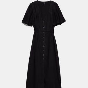 Black Short Sleeve Button Maxi Dress